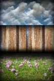 Beautiful backyard with wood fence Royalty Free Stock Image