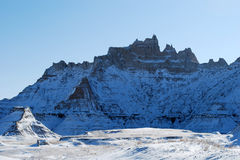 The beautiful Badlands in November. The Badlands covered with snow in November Royalty Free Stock Image