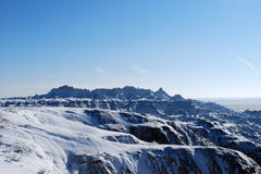 The beautiful Badlands in November. The beautiful scenic view of Badlands covered with snow in November Stock Photo