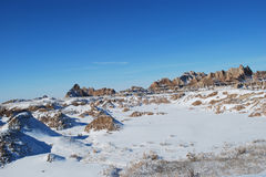 The beautiful Badlands in November. The beautiful scenic view of Badlands covered with snow in November Stock Photography
