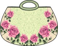 Beautiful bag. Flower roses pattern. Royalty Free Stock Photo