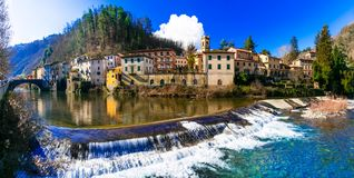 Traditional villages of Tuscany - Bagni di Lucca, famous for his Royalty Free Stock Photography