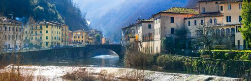 Traditional villages of Tuscany - Bagni di Lucca, famous for ter Royalty Free Stock Photo