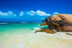 Beautiful Baie Lazare beach at Mahe island, Seychelles Royalty Free Stock Photo