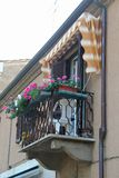 Beautiful balcony with flowers royalty free stock photography