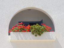 Beautiful balcony with geraniums and succulents. Tunisia stock images