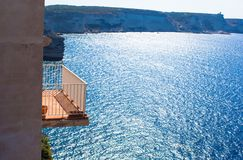 Beautiful balcony overlooking the sea Stock Photography