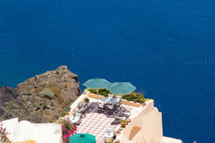 Beautiful balcony with sea view on Santorini island Stock Photography