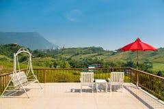 A beautiful balcony view of mountain Stock Image