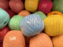 Summer yarn, beautiful color lies in the store. royalty free stock photo