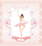 Beautiful ballerina - abstract card with pink ornaments Stock Photos