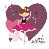 Beautiful ballerina in classical tutu. Hand drawn illustration of cute girl in pink dress. Pretty dancer. Cartoon vector. Artistic performer Stock Photo