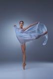 The beautiful ballerina dancing with blue veil Stock Image