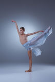 The beautiful ballerina dancing with blue veil Stock Photo