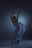 The beautiful ballerina dancing with blue veil Stock Photography
