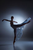 The beautiful ballerina dancing with blue veil Royalty Free Stock Photo