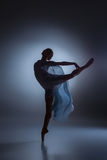 The beautiful ballerina dancing with blue veil Royalty Free Stock Photography