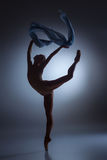 The beautiful ballerina dancing with blue veil Stock Image