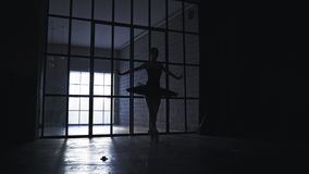Young ballerina silhouette dancing in the hall. Beautiful ballerina dancing in the hall stock footage