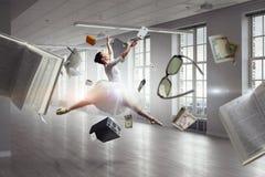 Elegant ballerina dancing. Mixed media stock illustration