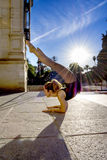 Beautiful ballerina doing exercises for dancing outdoors Royalty Free Stock Photo