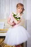Beautiful ballerina with flowers Stock Image