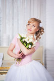 Beautiful ballerina with flowers Stock Photography