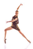 Beautiful ballerina in gold dress posing on white background Stock Photos