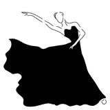 Beautiful Ballerina line art illustration black and white | abstract art of dancer | classical posing performer Stock Images
