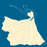 Beautiful Ballerina line art illustration in white dress on blue background | abstract art of dancer | classical posing performer Royalty Free Stock Images