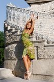 Beautiful ballerina near old ladder Royalty Free Stock Photos