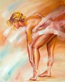 Beautiful ballerina. Oil painting. Royalty Free Stock Photos