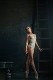 The beautiful ballerina posing against  dark Royalty Free Stock Photo