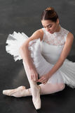 Beautiful ballerina posing in ballet class Stock Photography