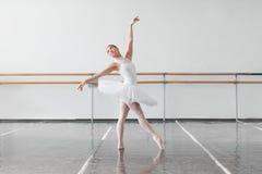 Beautiful ballerina rehearsal in ballet class Stock Photos