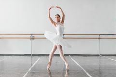 Beautiful ballerina rehearsal in ballet class Stock Images