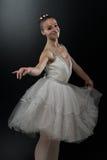 Beautiful Ballerina In White Tutu Doing Acrobatics Royalty Free Stock Image