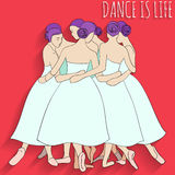 Beautiful ballerinas. Ballerina Dance: dancing into a circle Royalty Free Stock Photo