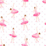 Beautiful ballerinas dance on polka dot background seamless vect Stock Photos