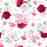 Beautiful ballerinas dance, red heart diamonds and fresh peony bouquets seamless vector pattern Royalty Free Stock Images
