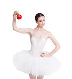 Beautiful ballerine with apple isolated on white background Stock Image