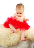 A beautiful  ballet  baby sitting  on a fur rug Royalty Free Stock Photos