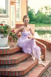 Beautiful ballet dancer at the lake Royalty Free Stock Photos