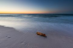 Beautiful Baltic sea beach at sunset Stock Image