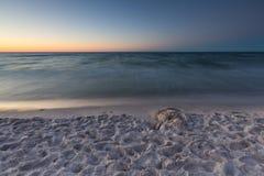 Beautiful Baltic sea beach at sunset Stock Photo