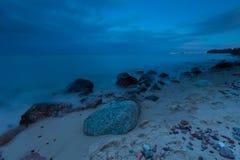 Beautiful Baltic sea landscape with stone breakwater. Stock Photo