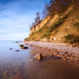 Beautiful Baltic sea shore with big cliff in Gdynia Orlowo. Stock Image