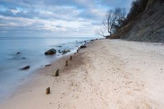 Beautiful Baltic sea shore with big cliff in Gdynia Orlowo Royalty Free Stock Image