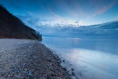 Beautiful Baltic sea shore with big cliff in Gdynia Orlowo Stock Photos