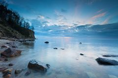 Beautiful Baltic sea shore with big cliff in Gdynia Orlowo Stock Image